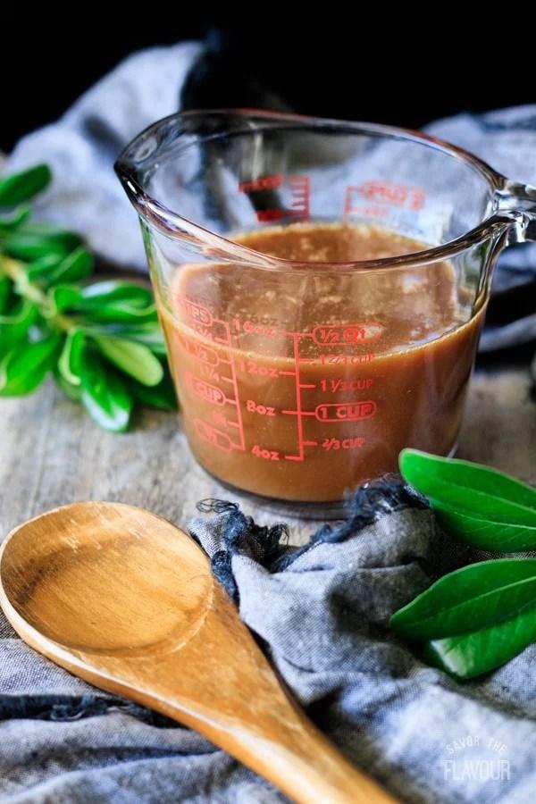 butterscotch sauce in a glass jug for smoked butterscotch latte