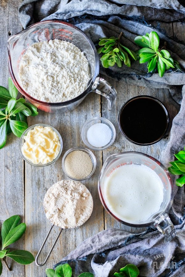 ingredients for whole wheat molasses bread