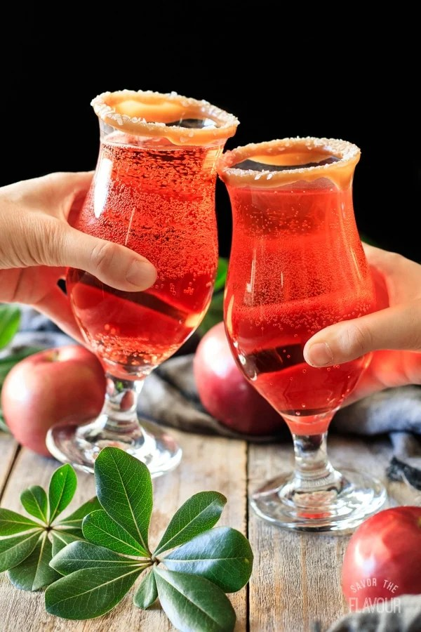 doing a toast with two glasses of sparkling apple cider mocktail
