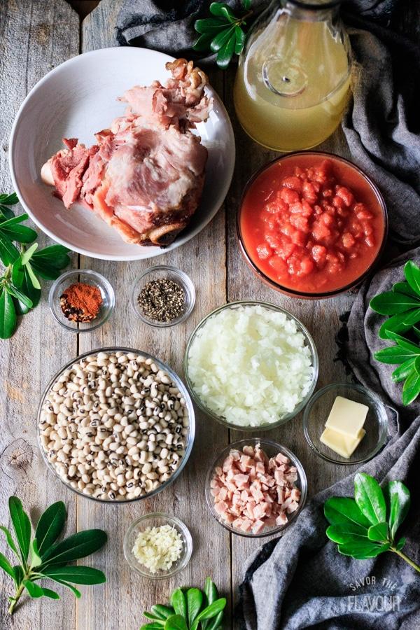 ingredients for black eyed peas