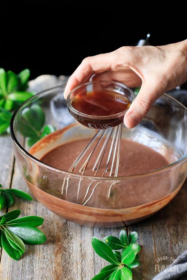adding coffee to chocolate ganache for non alcoholic chocolate mocha martini