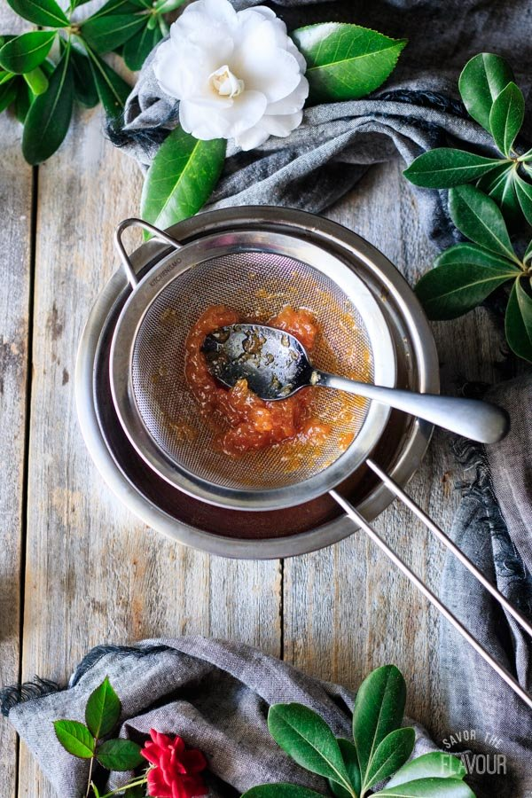 sieving the apricot preserves for sachertorte