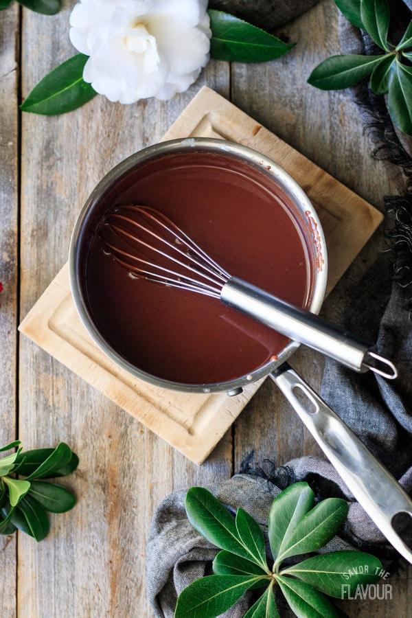 whisking the chocolate ganache for sachertorte