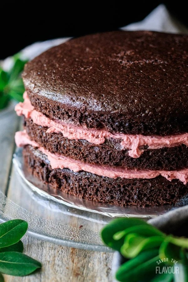 sour cream chocolate cake layers sandwiched with raspberry buttercream