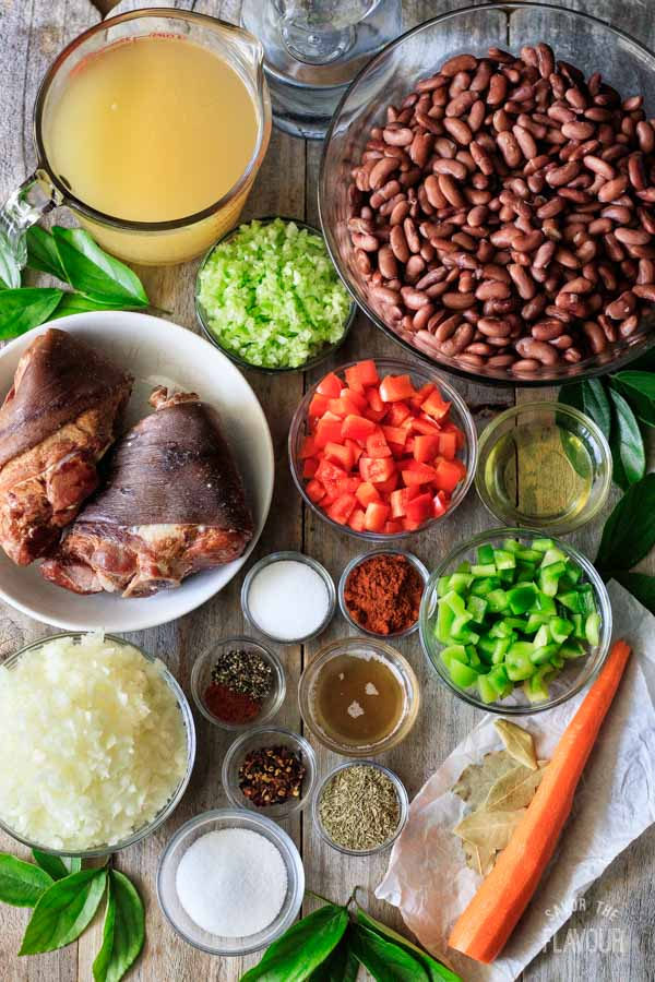 ingredients for red beans and rice