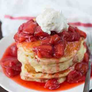 Fluffy Champagne Strawberry Glazed Pancakes