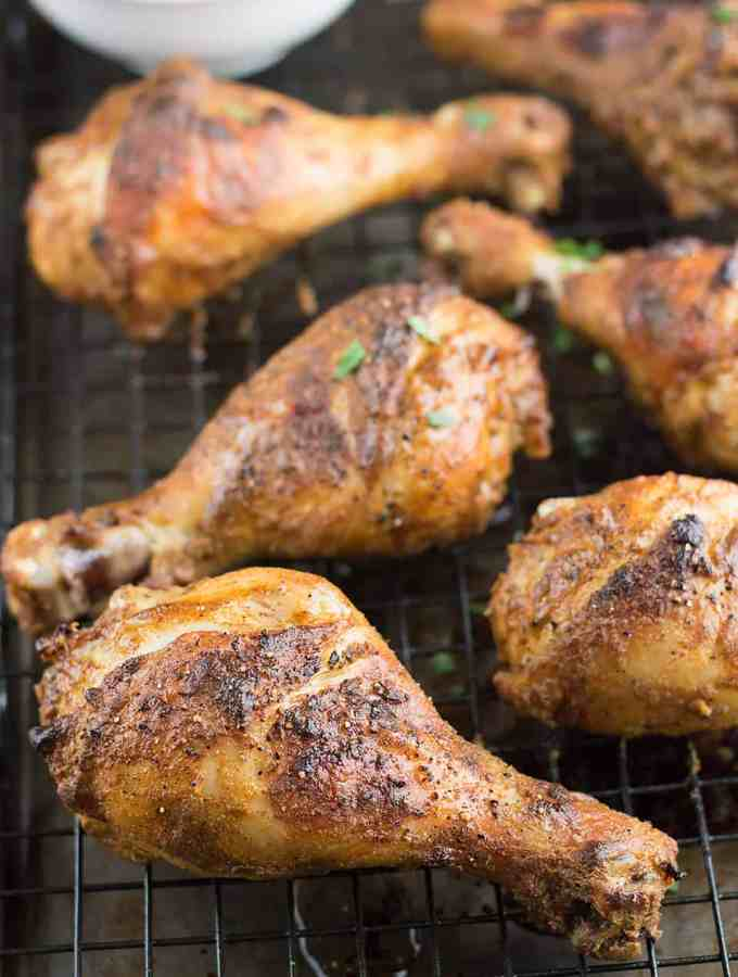 These Tandoori Inspired Roasted Chicken Legs are crispy, seasoned with delicious Indian spices, and can be grilled or roasted.