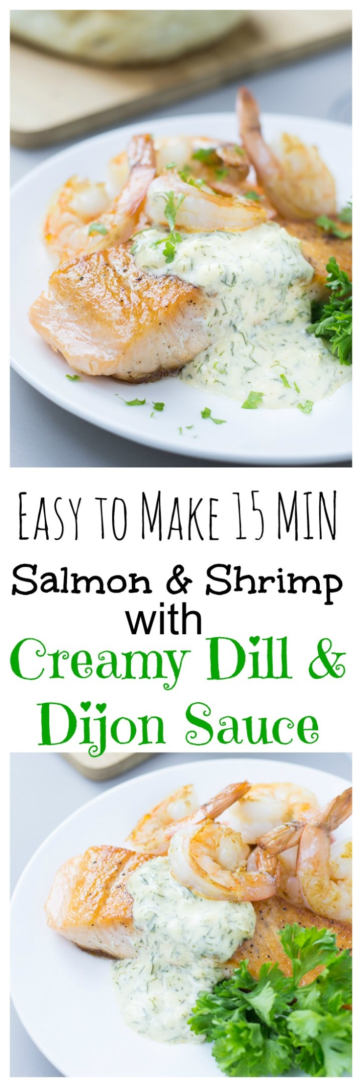 Seared Salmon and Shrimp with Creamy Dill and Dijon Sauce