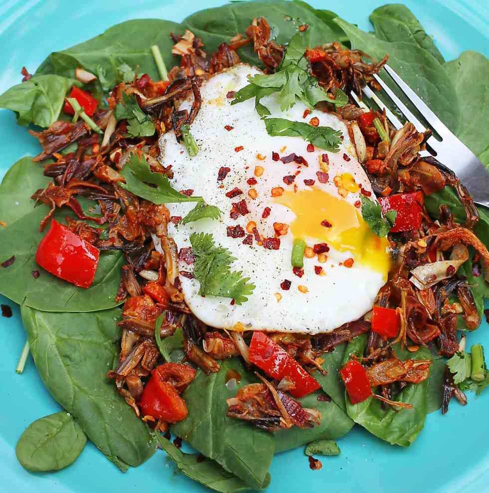 BANANA FLOWER STIR FRY with egg and spinach