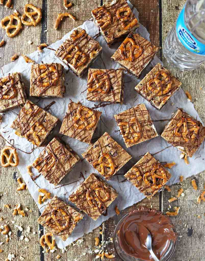 Healthy Chocolate Pretzel Bars