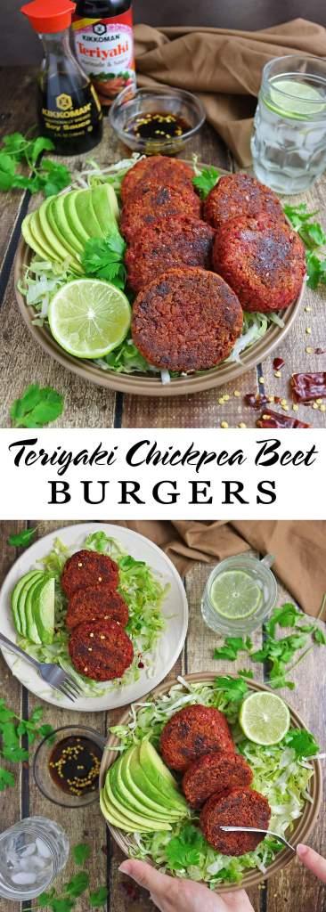 Teriyaki Chickpea Beet Burgers #KickinItWithKikkoman