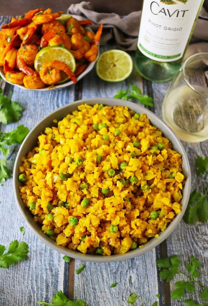 Turmeric Cauliflower Rice With Peas