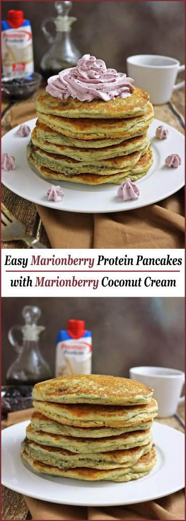 Easy Marionberry Protein Pancakes with Marionberry Coconut Cream #TheDayIsYours #Sponsored