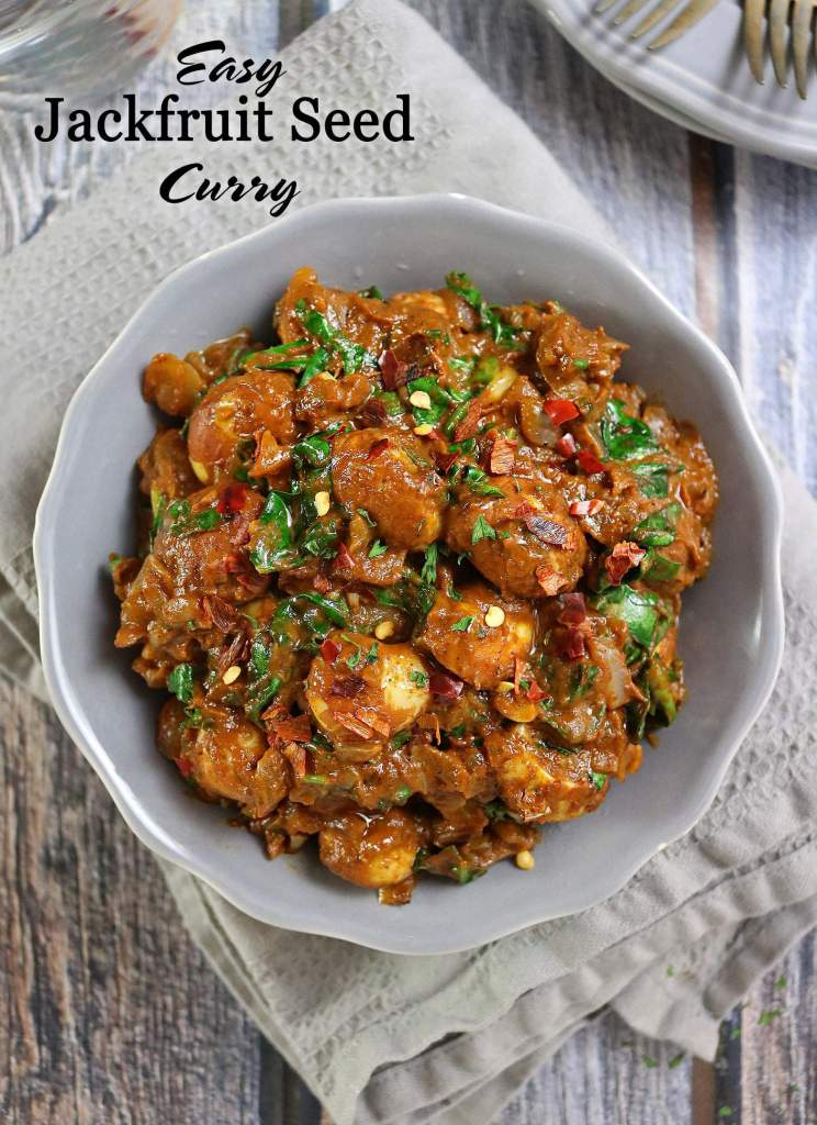 Hearty-Jackfruit Seed Spinach Curry