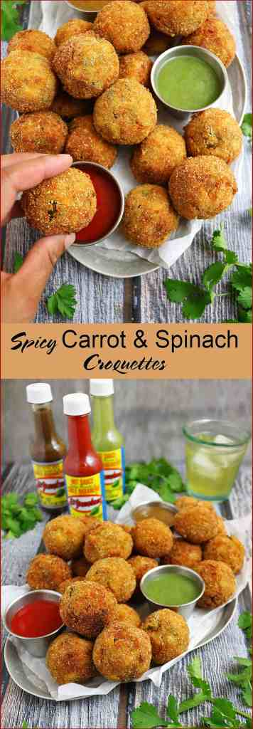 Spicy Carrot Spinach Croquettes #FieldToBottle #KingofFlavor
