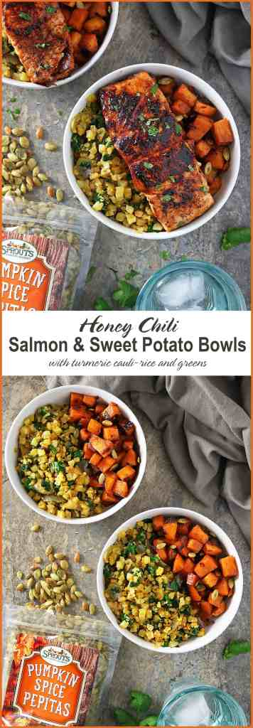 30 Minute Honey Chili Salmon And Sweet Potato Bowls Inspired by #HelloSprouts Retreat Chopped Contest