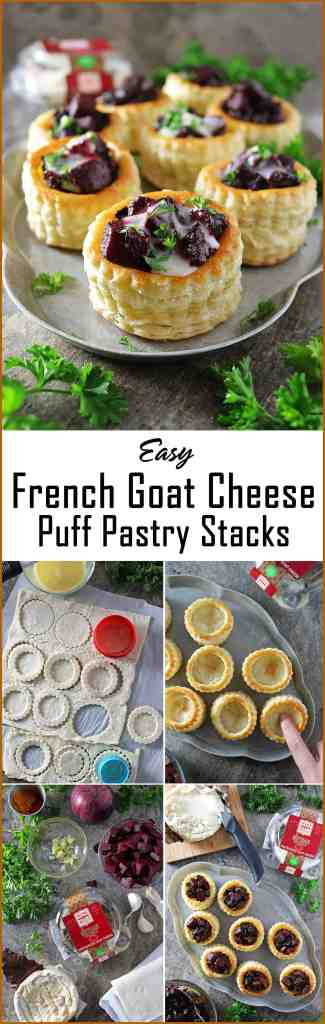 Easy French Goat Cheese Puff Pastry Stacks with Beetroot