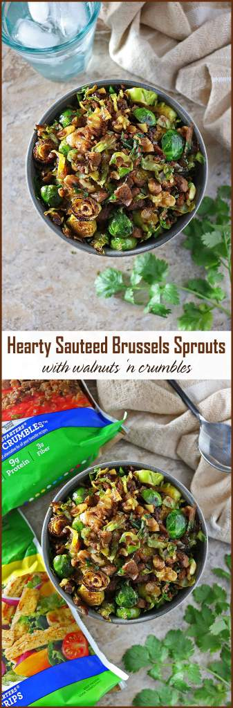 Hearty Sauteed Brussels Sprouts with Walnuts 'n Crumbles - Vegetarian Appetizers For Thanksgiving and Christmas #VeryVeggieHoliday