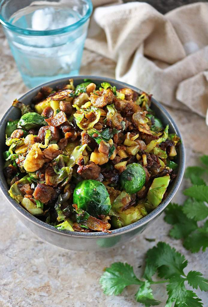 Sauteed Brussels Sprouts N Crumbles - Appetizers, Healthier, Sides, Thanksgiving, Christmas.