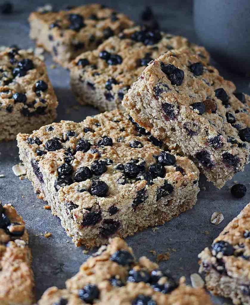Easy Refined Sugar Free Gluten Free Blueberry Bars