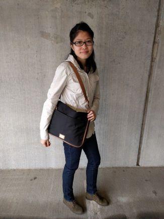 Calvin Klein Nylon Messenger Bag on one shoulder