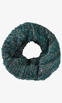 Green Marl Knit Twist Loop Scarf Green