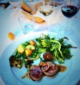lamb loin and pine nut and mint meat balls w fresh salad, shelled peas and new potatoes