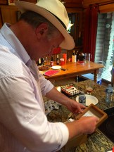 My friend Mark Teare looking over the collection of recipes his Mom left him - photo - Karen Anderson