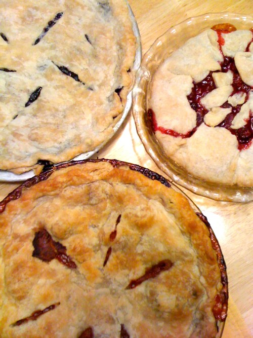 Raspberry, Blueberry and Strawberry Rhubarb summer pies at Mom's - photo - Karen Anderson