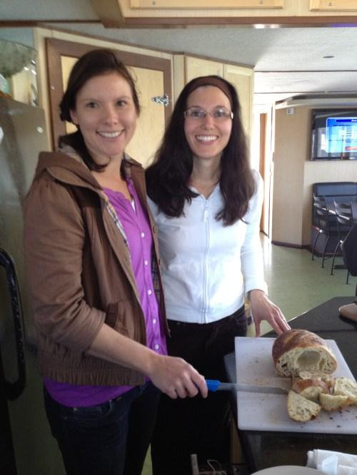 The baking of Okanagan Grocery's Monika Walker pictured here w Tourism Kelowna's Catherine Frechette