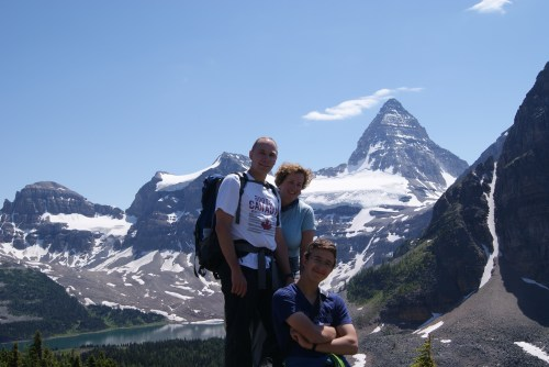 "Me and my family on ""the niblet"" with Mt. Assiniboine making an indelible impression on our souls"