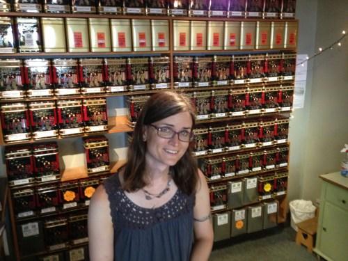 Kate Bennie at work in Tea Trader Tea Shop photo - Karen Anderson