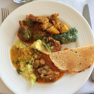Lal Moss and complementary vegetables and chapati  A lovely lunch at Rohet Garh in Rajasthan, India photo - Karen Anderson