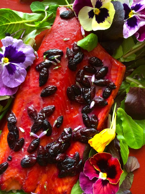 My Grizzly Bear Salmon with greens and edible flowers photo - Karen Anderson