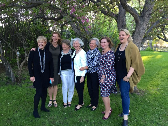 Shuffling the deck for new winning hand of Best of Bridge - LtoR - Mary Halpen, Sue Duncan, Val Robinson, Helen Miles, Joan Wilson, Elizabeth Chorney-Booth and Julie Van Rosendaal - photo - Karen Anderson