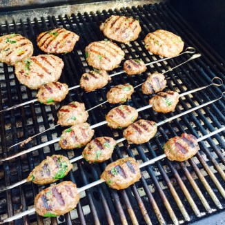 Shish kababs and Shish ka-burgers - photo - Karen Anderson