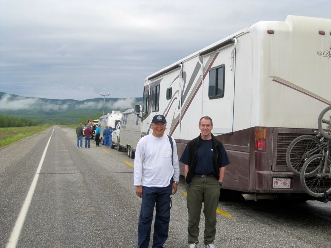 RVs waiting for construction delay on AK highway