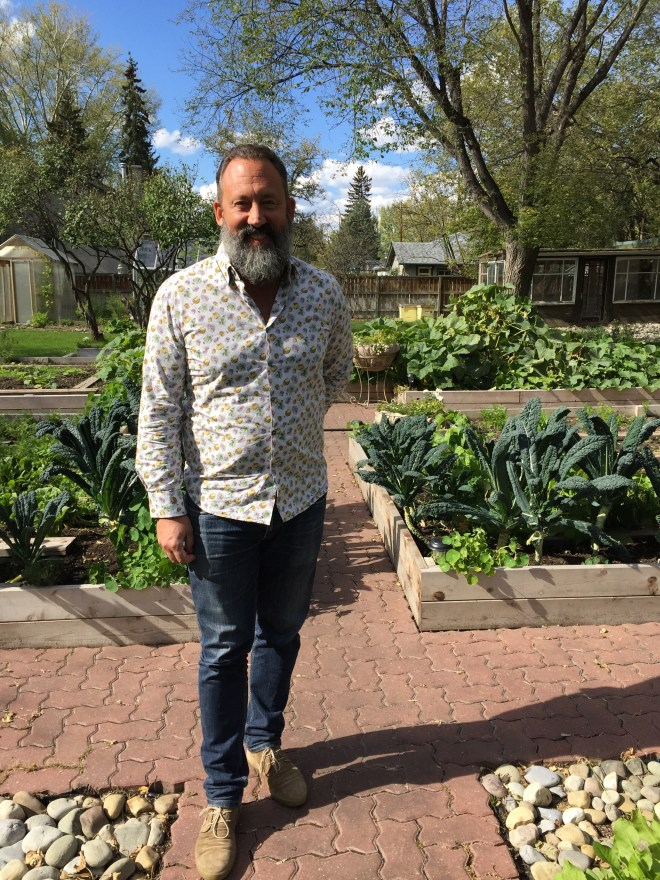 Alessandro Porcelli, the founder of Cook It Raw in the garden at Rouge Calgary - photo - Karen Anderson