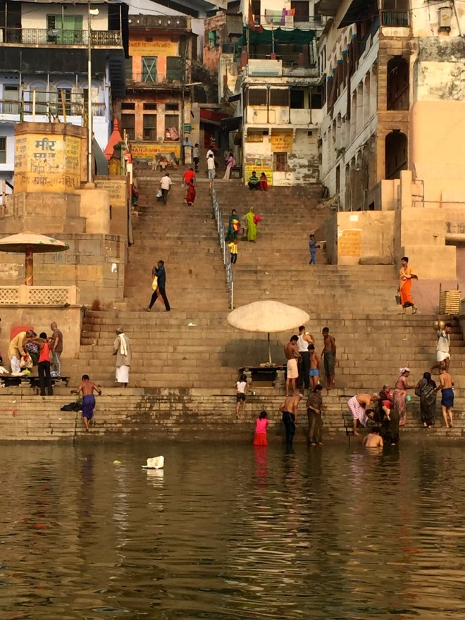 Bathers at the Ghats in Varanasi - photo credit - Karen Anderson @savouritall