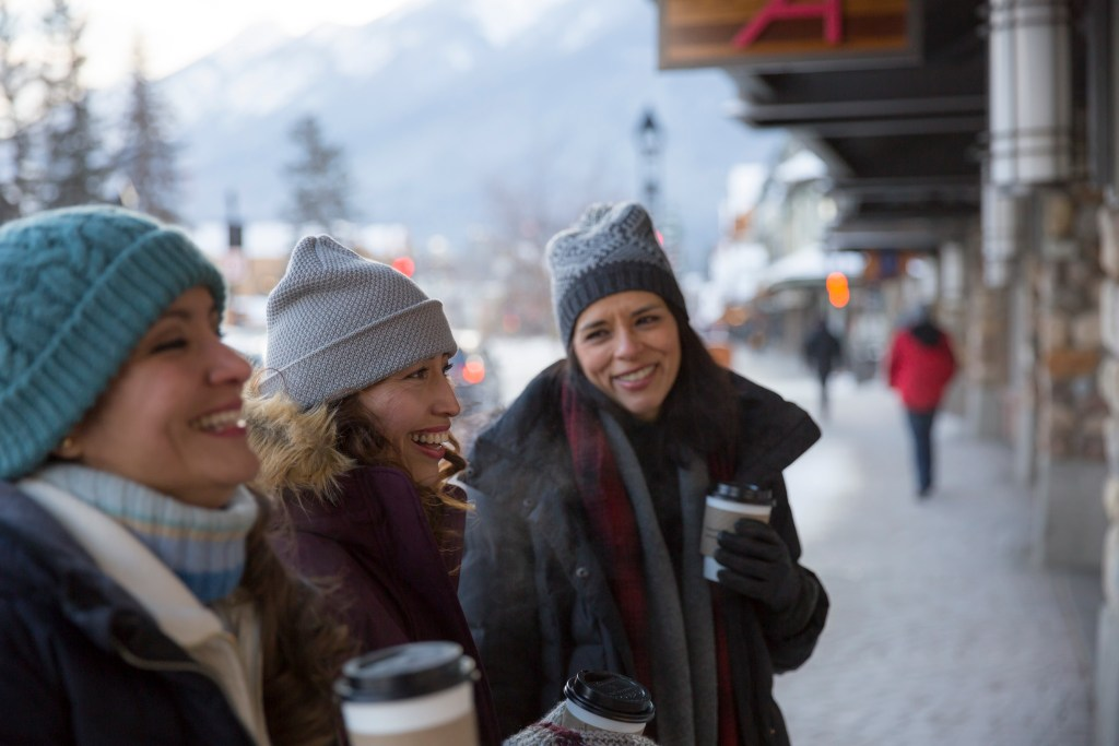 Banff Avenue shoppers in Winter