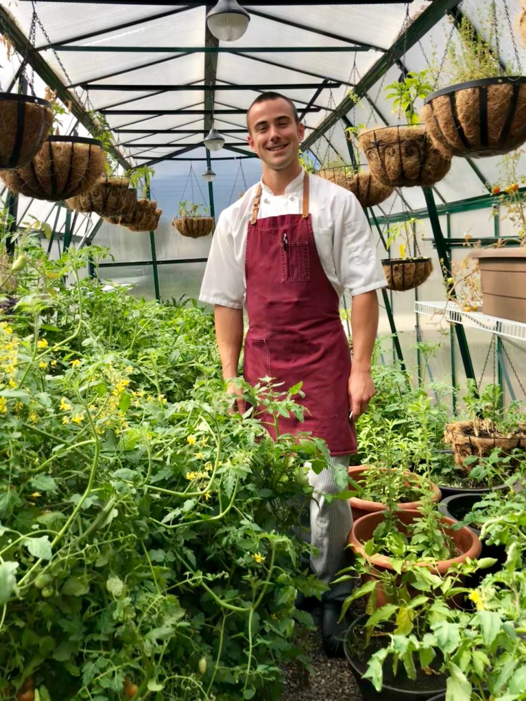 Chef Alex in the greenhouse at the Fairmont Banff Springs Hotel