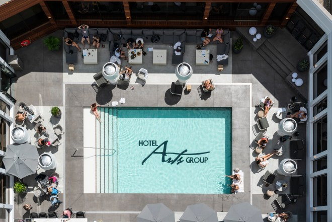 showing off the new pool at Hotel Arts in Calgary