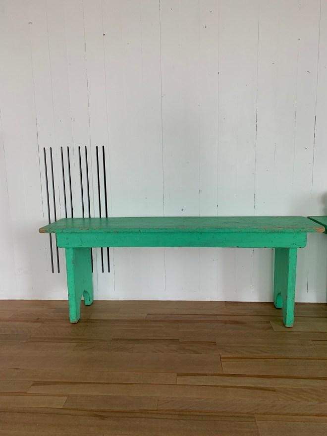 Fogo Island green bench