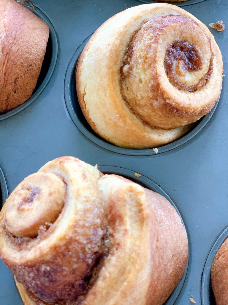 close up of the Hermione Sweet Sourdough Cinnamon Rolls