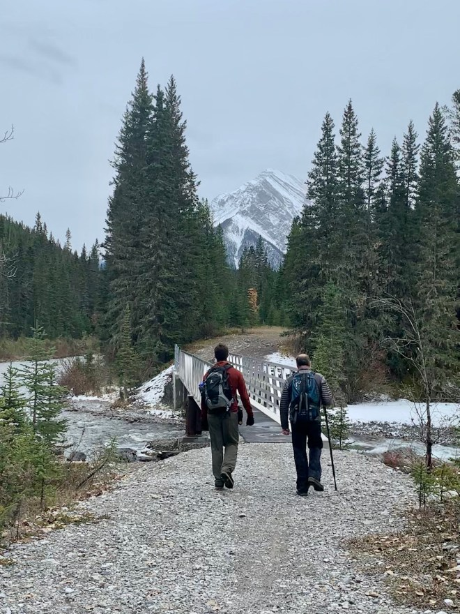 Hikers on a trail near Banff