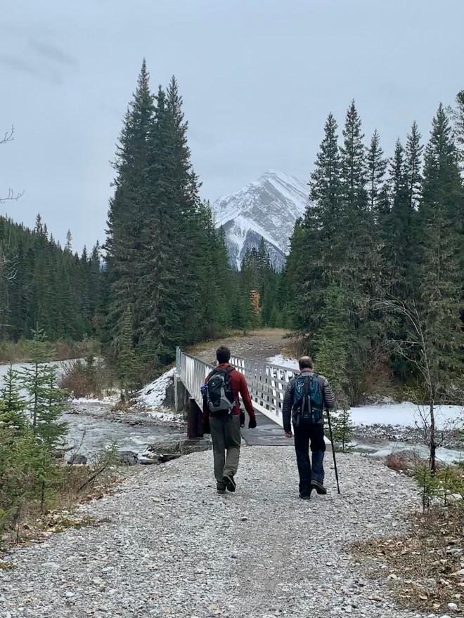 Hikers on a trail near Banff