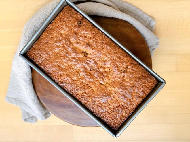 Hermione Sweet Sourdough Date Nut Loaf in the pan