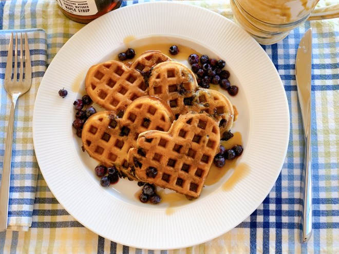 Hermione Sweet Sourdough Waffles with blueberries
