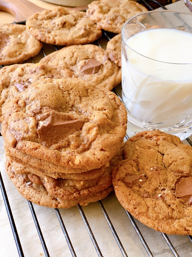 TBO Peanut and Toblerone Cookies - stack with milk