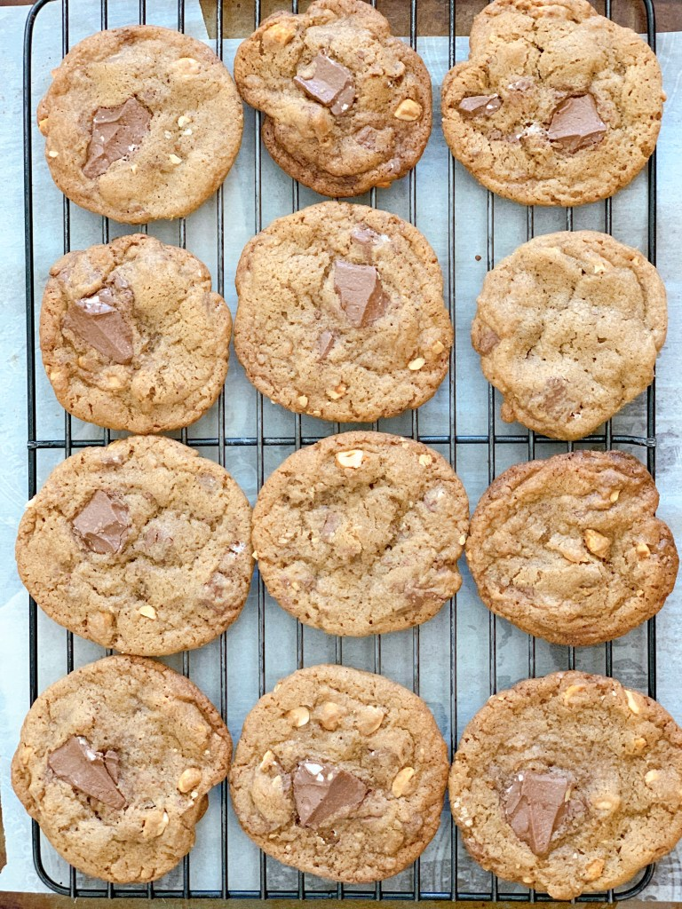 TBO Peanut and Toblerone Cookies - cookies cooking on a rack